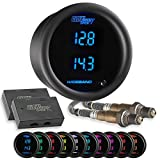 GlowShift 10 Color Digital Dual Wideband Air/Fuel Ratio AFR Gauge - Includes Oxygen Sensors, Data Logging Output & Weld-in Bungs - 2 Multi-Color LED Displays - Tinted Lens - 2-1/16'' (52mm)