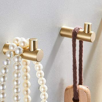 Pack of 4, Gold Brass Decorative Wall Hooks Towel Hook, Coat Hook Hangers Wall Mounted (L Shaped)
