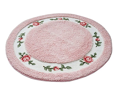Licheng Rounded Floral Rural Design Beautiful Rose Flower Non Slip Absorbent Area Rugs (36inch by 36inch, Pink) ()
