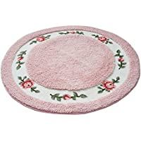 Licheng Rounded Floral Rural Design Beautiful Rose Flower Non Slip Absorbent Area Rugs (36inch by 36inch, pink)