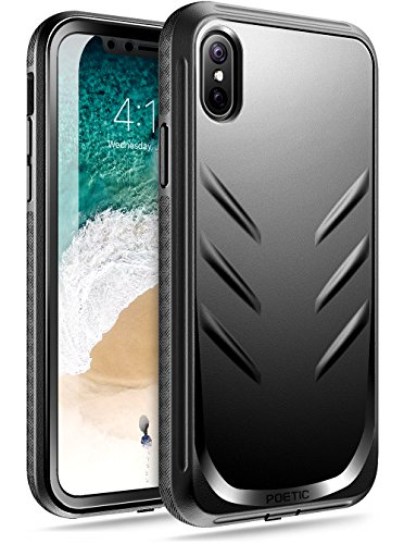 iPhone X Case, Poetic Revolution [360 Degree Protection] Full-Body Rugged Heavy Duty Case with [Built-in-Screen Protector] for Apple iPhone X (2017) Black
