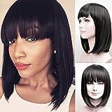 big and small flat iron - RUISENNA Women's Yaki Synthetic Full Hair Wigs Short Straight Black Bob Wig 100% Heat Resistant Fiber Wigs For Women ¡