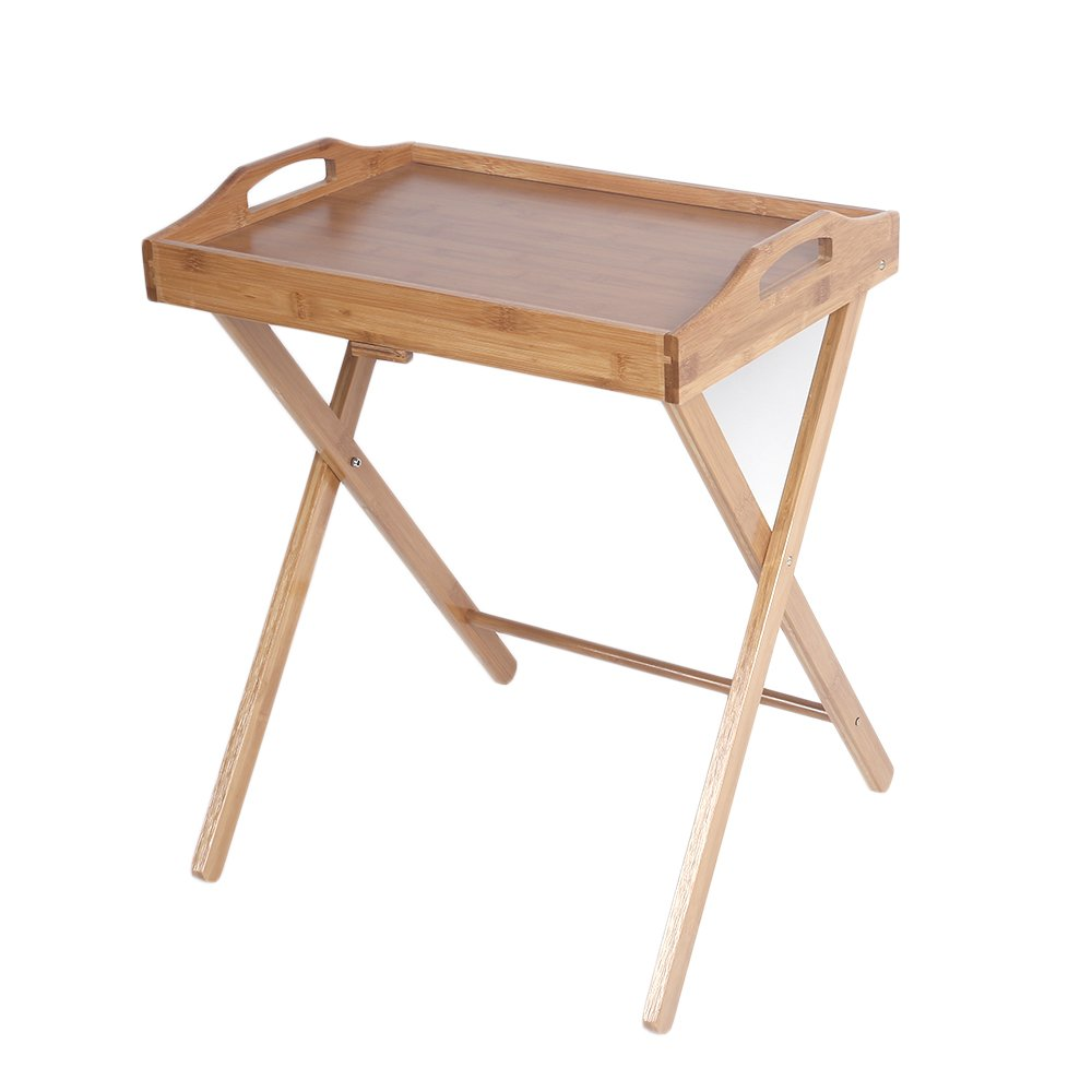 Azadx Bamboo Folding Table, Free Standing Snack Tea Portable Dinning Table Wood Color