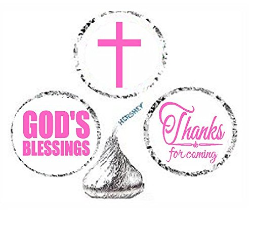 Cakesupplyshop Item#966y - 216 First Holy Communion Party Favor Hershey's Kisses Stickers / Labels - Pink for $<!--$6.99-->