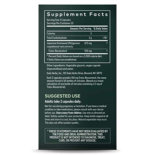 51m 81986JL - Gaia Herbs Resveratrol 150, Vegan Liquid Capsules, 50 Count - Antioxidant & Cardiovascular Support for Healthy Aging, Highly Concentrated Trans-Resveratrol