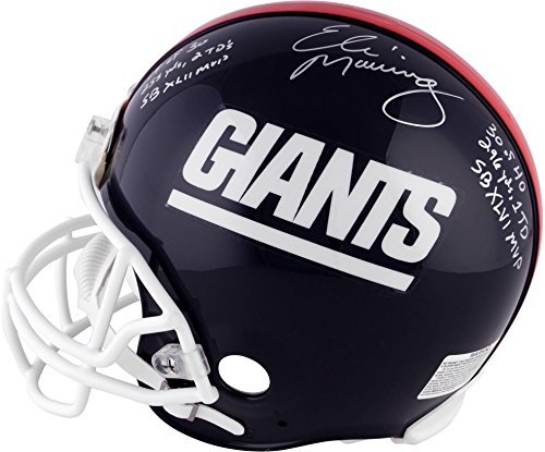 (Eli Manning, Ottis Anderson & Phil Simms New York Giants Autographed Proline Helmet with SB MVP Stats Inscriptions - #2-9 of a Limited Edition of 10 - Fanatics Authentic)