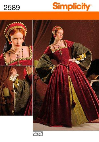 Costumes Patterns Plus Size (Simplicity 2589 Sew Pattern WOMEN'S ELIZABETHAN COSTUME Plus Size 16-24)