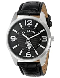U.S. Polo Assn. Men's Analogue Dial Leather Strap Watch Black USC50010