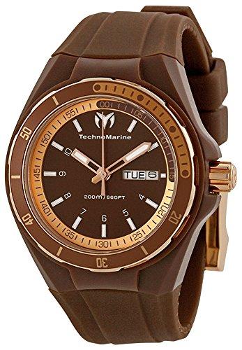 Technomarine Cruise Sport Rose Gold Plated Steel Unisex Sport Watch Brown Strap 110062