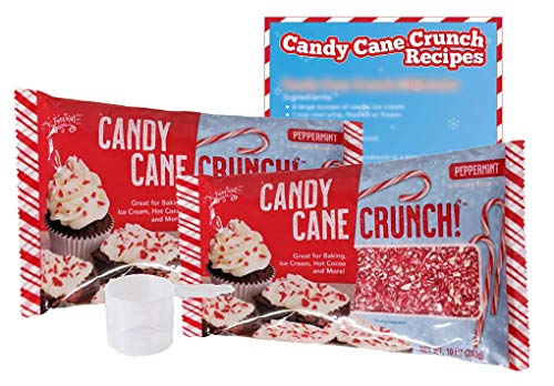 Candy Cane Peppermint Crunch - 2pk 10oz Bags, 1 Plastic Scoop, & 1 Recipe Card - Crushed Peppermint Candy Canes Topping