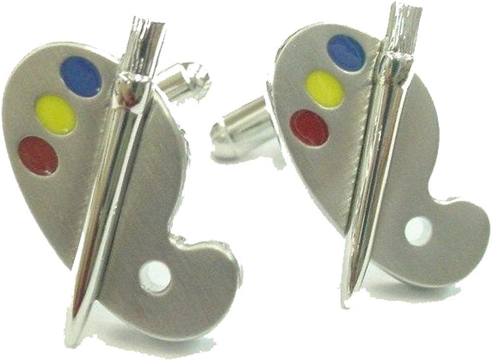 Mens Executive Cufflinks Silver Tone Colorful Painters Paint Palette Artist Color and Bursh Cuff Links