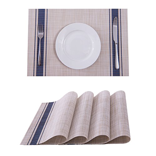 Placemats,Placemats for Dining Table,Heat-resistant Placemats, Stain Resistant Washable PVC Table Mats,Kitchen Table mats of Set 4(Blue)