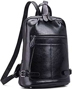 Heshe Leather Handbags Outdoor Purse Backpack Schoolbag Camping Traveling Bag
