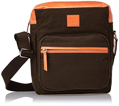 North Star Canvas Brown and Orange Canvas Messenger Bag (9044229)