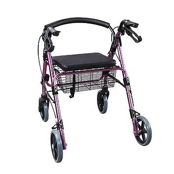Andadores para discapacidad Andador de Cuatro Ruedas con tracción a la aleación de Aluminio de Drive Medical,Respaldo extraíble,Asiento Acolchado,4 Rondas ...