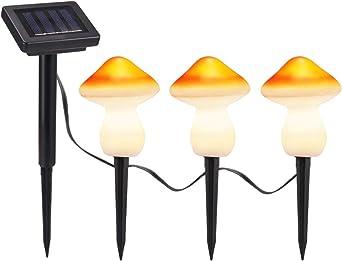 Luz Solar De Setas, Luces De Cadena Decorativas De Jardín Solar Exterior, Conjunto De 3 9leds Luces De Estaca Solar Patio Patio Decoración De Arte Césped Adornos (3 Piezas Rojo): Amazon.es: Iluminación