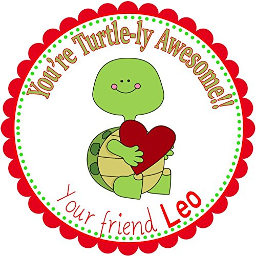 Personalized Party Labels, Favors Stickers, Valentine's Turtle Hearts Party Theme Stickers