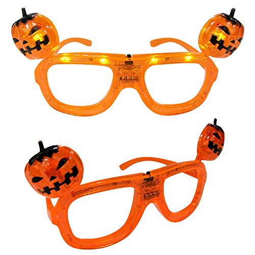 Mammoth Sales Set of 12 LED Light up Flashing Pumpkin Heads Halloween Glasses Shades]()