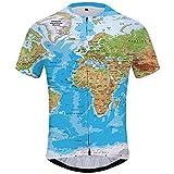KYKU Men's World Map Cycling Jersey USA Shirt Bike