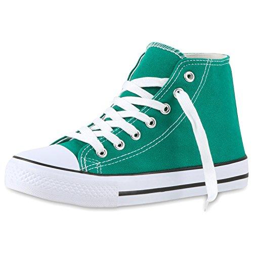 best-boots Damen High-Top Sneaker Schnürer Slipper Halbschuhe Sportlich Grün Nuovo
