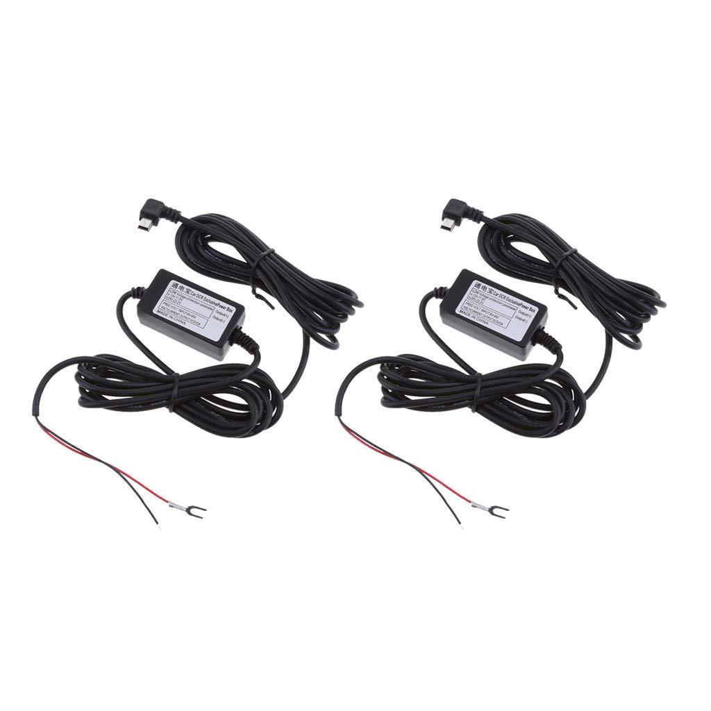 2Pcs 12//24V to 5V Durable Car Dash Cam Hardwire Kits Power Adapters Inverter Mini USB Right Bend Head