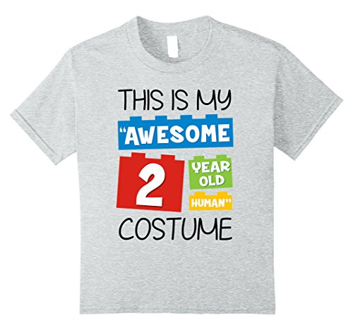 Funny 2 Year Old Halloween Costumes (Kids 'Awesome 2 Year old Human' Halloween Costume T-shirt 10 Heather Grey)