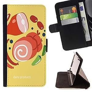 King Case - FOR Samsung Galaxy S4 Mini i9190 - the dairy products - Prima caja de la PU billetera de cuero con ranuras para tarjetas, efectivo Compartimiento desmontable y correa para la mu?eca