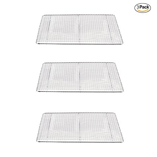 Commercial Quality Stainless Steel nonstick and oven safe Cooling Rack Sheet | Ideal for cooking, baking and cooling your favorite foods. Dishwasher safe. (3, Half Size)
