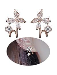 Ear Climber Earrings Crawler Butterfly Flower Ear Cuff Pin Vine Wrap Studs CZ Crystal Rhinestone Jewelry