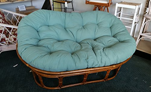 Papasan Loveseat – Classic Indoor Rattan Furniture NIB (Pecan-Hunter Green)