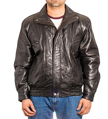 vendimia la de de bombardero de cuero verdadera los chaqueta Negro bombardero Chaqueta del de hombres cl‡sica la retro de qPS5RwRX