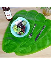 DishyKooker Hawaii Green Banana Leaf Shape Placemat Tabletop Wall Decoration 4 pcs Household