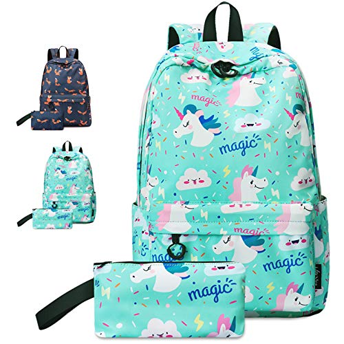 VentoMarea Unicorn Teen Girls School Backpack Set College High School Student Bookbags Lightweight Travel Laptop Daypack with Pencil Pouch ()