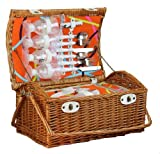 Willow Picnic Basket, Dome Top, Fully Lined and Insulated, Service for 4 by Decorative Gifts
