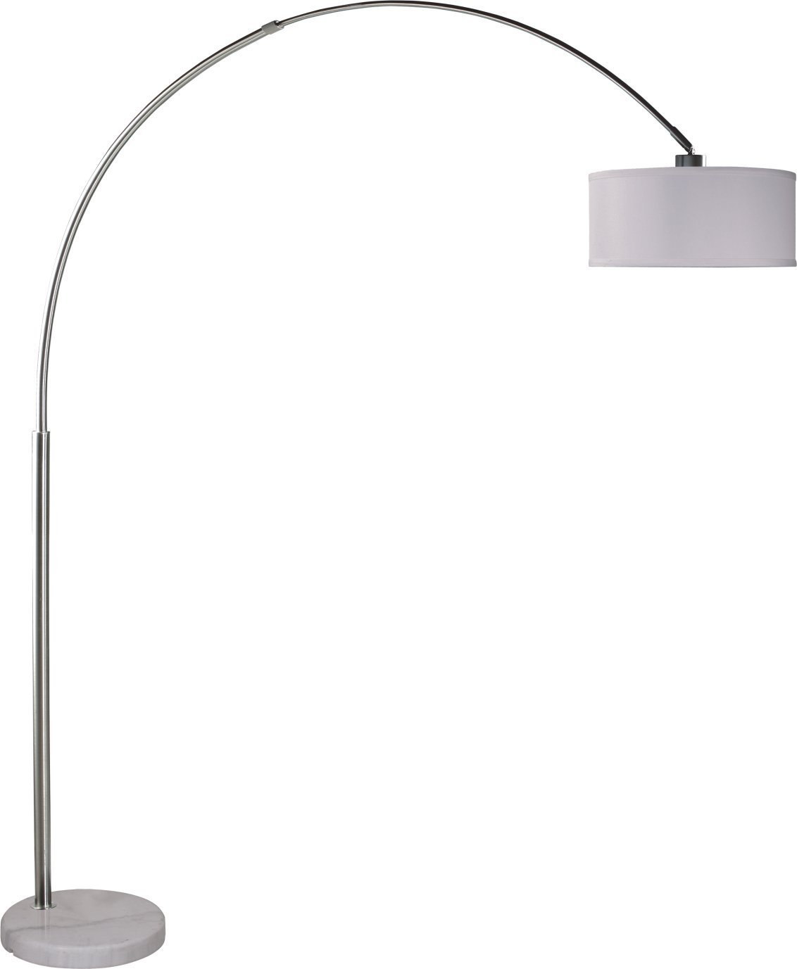 """SH Lighting Towering 82"""" Arched Floor Lamp - Large Modern Arc Lamp with Hanging Drum Shade and Real Marble Base Light Fixture with Foot-Switch and 64 inch cord, Grand White by SH Lighting"""