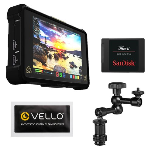 Atomos Shogun Inferno | 7 Inch Touchscreen Recording Camera Monitor Bundle with SanDisk 240GB Ultra II Internal Solid State Drive + Pearstone 7.5'' Articulating Arm by Atomos