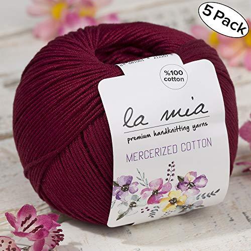 5 Ball%100 Mercerized Cotton Total 8.8 oz. Each 1.76 oz (50g) / 147 Yrds (135m) Super Soft, Dk Light Baby Yarn, Claret Red - 23 ()