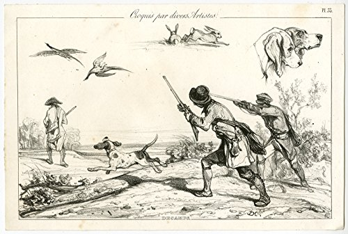 Antique Print-HUNTING-PHEASANT-RIFLE-GUN-HARE-DOGS-Decamps-1830