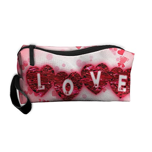 Valentine Love Pencil (Portable Travel Storage Bags Valentines Day Love Clutch Wallets Pouch Coin Purse Zipper Holder Pencil Bag,kits Medicine And Makeup Bags)