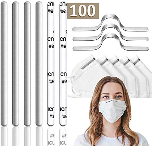 Nose Bridge for Mask 100pcs Aluminum Strips Nose Wire Adhesive Aluminum Flat Nose Clip Nose Bridge DIY Wire for Sewing Adjustable Metal Strips Straps