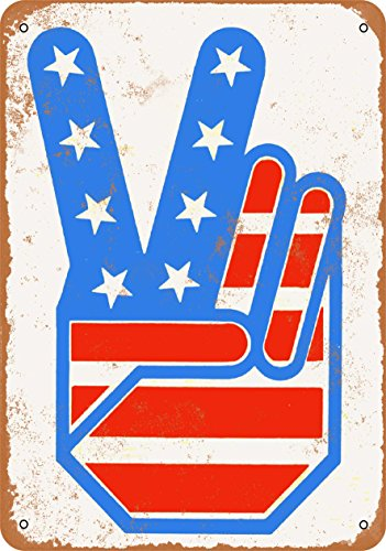 Wall-Color 10 x 14 Metal Sign - 1972 Peace Fingers Flag - Vintage ()