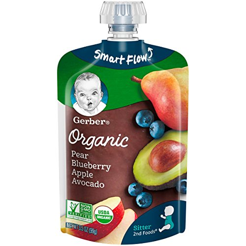 Gerber Organic 2nd Foods Baby Food, Pears, Blueberries, Apples & Avocado, 3.5 oz Pouch, 12 count ()