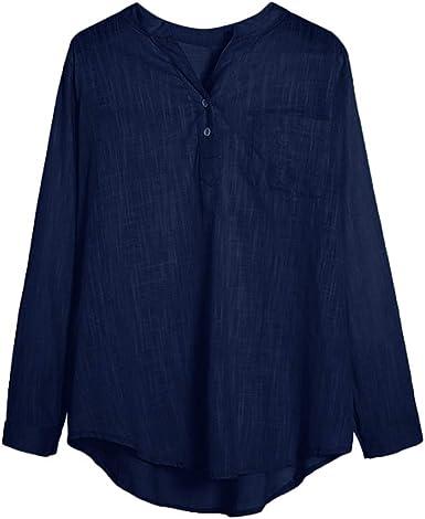 VEMOW Blusas Mujer Camisas de botón sólidas Ocasionales de Las Mujeres Bolsillo Blusas de Manga Larga Tops Sueltos Cuello en V Camisetas Verano Blusa t Shirt: Amazon.es: Ropa y accesorios