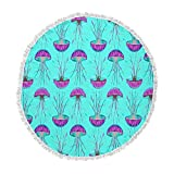 KESS InHouse Ivan Joh Turquoise Dance Teal Purple Round Beach Towel Blanket