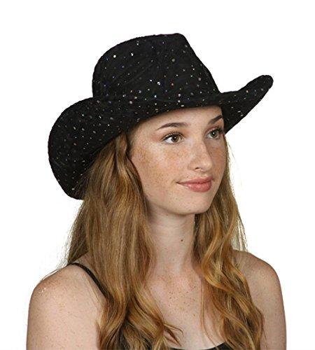- TOP HEADWEAR TopHeadwear Glitter Sequin Trim Cowboy Hat - Black