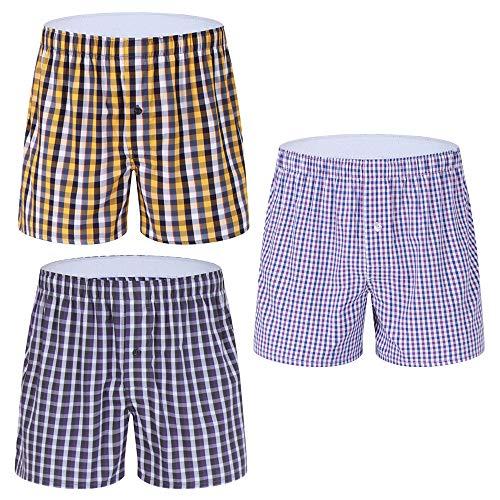 Men's Tartan Woven Boxers Underwear 100% Cotton, Plaid Colorful Boxer Shorts, Boxershorts with Button Fly (3 Pack, L)