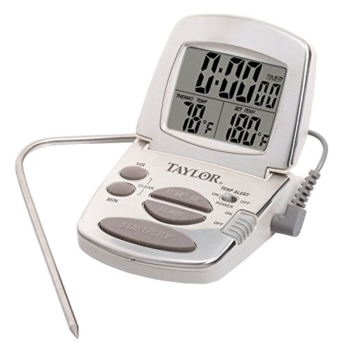 Taylor Precision Products Digital Cooking Thermometer with Probe and Timer (Meat Programmable Thermometer Digital)