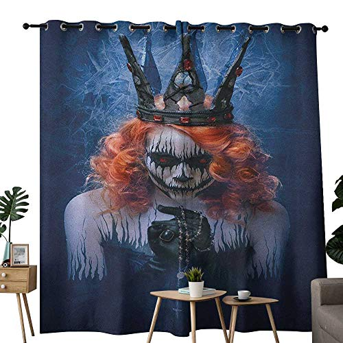 NUOMANAN Customized Curtains Queen,Queen of Death Scary Body Art Halloween Evil Face Bizarre Make Up Zombie, Navy Blue Orange Black,Blackout Thermal Insulated,Grommet Curtain Panel Set of 2 84