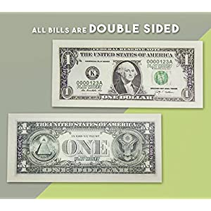 $9300 in Play Money - Pretend Dollar Bills - Realistic Money Stack - That Look Real - Small Bills (5 X 2.5 Inches) - 50 of each Amount - 300 Bills Total