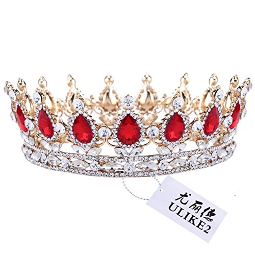 Ulike2 King/queen Crown Red Ruby Stone Sapphire Tiaras Gold/silver Plated Hair Jewelry (1#)